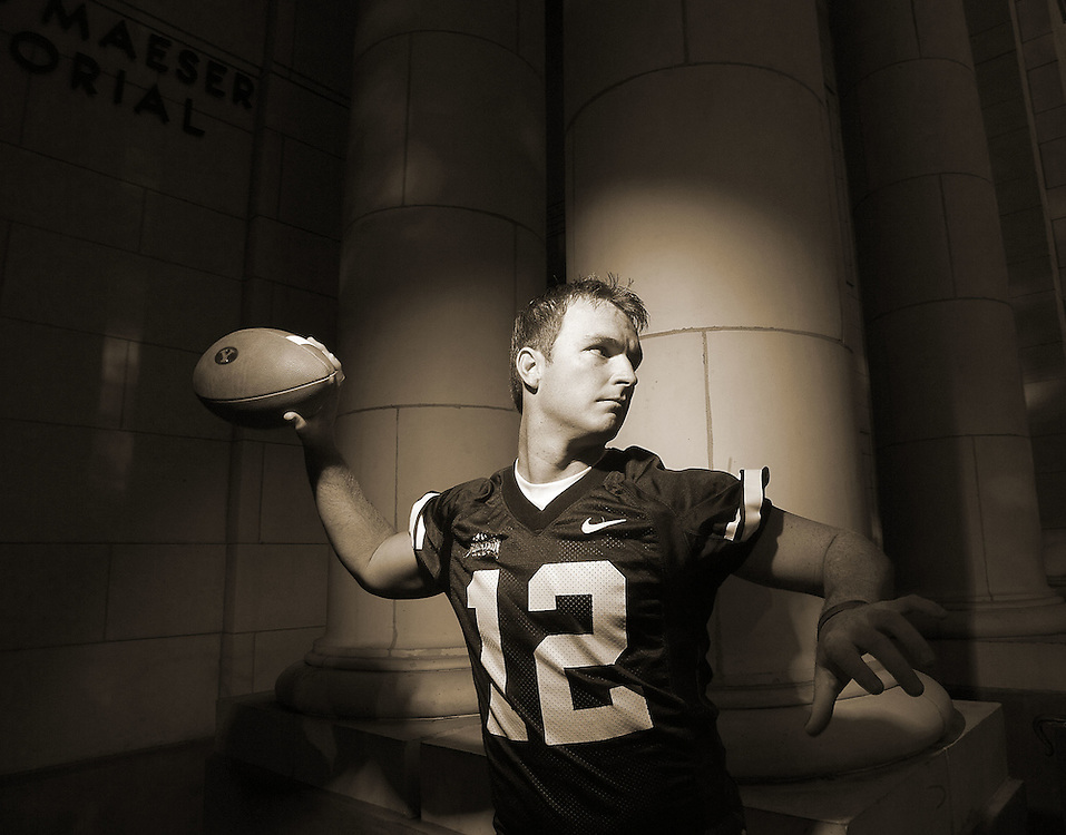 John Beck BYU quarterback portrait shoot on the BYU campus Maeser Building in Provo, Utah Wednesday August 2, 2006.  August Miller/Deseret Morning News
