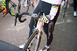 Rainbow stripes on the bike of Amalie Dideriksen (DEN) before Stage 1b of the Healthy Ageing Tour - a 77.6 km road race, starting and finishing in Grijpskerk on April 5, 2017, in Groeningen, Netherlands.