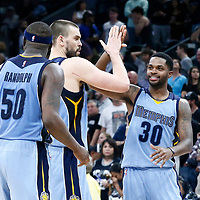 04 April 2017: Memphis Grizzlies center Marc Gasol (33) is congratulated by Memphis Grizzlies guard Troy Daniels (30)) during the San Antonio Spurs 95-89 OT victory over the Memphis Grizzlies, at the AT&T Center, San Antonio, Texas, USA.