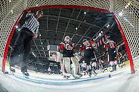 KELOWNA, CANADA - JANUARY 18: Liinesman Tim Plamondon adjusts the net of Brody Willms #35 of the Moose Jaw Warriors against the Kelowna Rockets on January 18, 2017 at Prospera Place in Kelowna, British Columbia, Canada.  (Photo by Marissa Baecker/Shoot the Breeze)  *** Local Caption ***