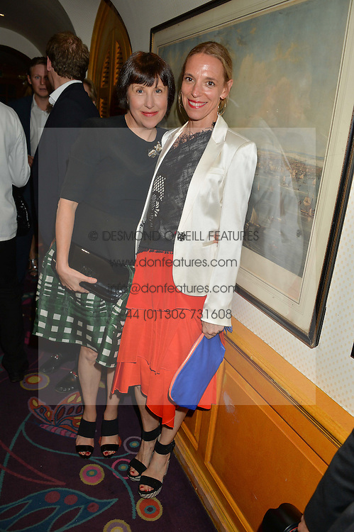 Left to right, ALICE RAWSTHORN and TIPHAINE DE LUSSY at an exclusive dinner for Iris Apfel held at Annabel's, Berkeley Square, London on 29th July 2015.