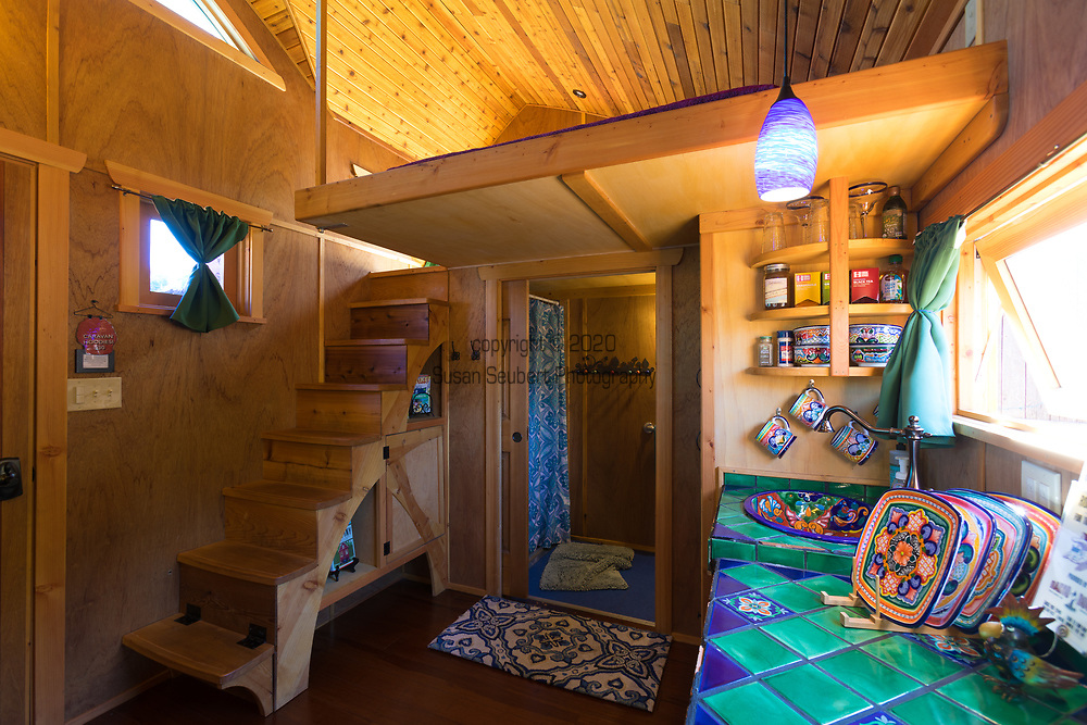 The Tiny House called Pacifica with stained glass at Caravan, the Tiny House Hotel, Portland, OR, USA