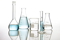 Shot for marketing purposes for a Skin Care client, these chemistry beakers are not easy to light.