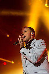 © Licensed to London News Pictures . 05/04/2014 . Manchester , UK . Brian Littrell . The Backstreet Boys play at the Phones4U Arena in Manchester this evening (Saturday 5th April 2014) . Photo credit : Joel Goodman/LNP