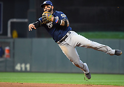 May 18, 2018 - Minneapolis, MN, U.S. - MINNEAPOLIS, MN - MAY 18: Milwaukee Brewers Second base Jonathan Villar (5) throws to 1st during a MLB game between the Minnesota Twins and Milwaukee Brewers on May 18, 2018 at Target Field in Minneapolis, MN. The Brewers defeated the Twins 8-3.(Photo by Nick Wosika/Icon Sportswire) (Credit Image: © Nick Wosika/Icon SMI via ZUMA Press)