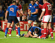 France prop Rabah Slimani scores France's third try during the Rugby World Cup 2015 Pool D match (22) between France and Canada at Stadium MK, Milton Keynes, England on 1 October 2015. Photo by David Charbit.