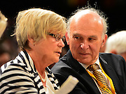 © Licensed to London News Pictures. 26/09/2012. Brighton, UK Business Secretary Vince Cable talks to his wife, Rachel, at the Liberal Democrat Conference at the Brighton Centre in Brighton today 25th September 2012. Photo credit : Stephen Simpson/LNP