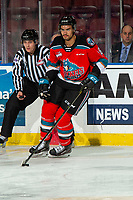 KELOWNA, BC - NOVEMBER 26: Jadon Joseph #18 of the Kelowna Rockets warms up on the ice with the puck for his first game as a Rocket against the Edmonton Oil Kings at Prospera Place on November 26, 2019 in Kelowna, Canada. (Photo by Marissa Baecker/Shoot the Breeze)