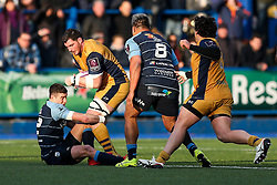 James Phillips of Bristol Rugby is tackled by Steven Shingler of Cardiff Blues - Rogan Thomson/JMP - 21/01/2017 - RUGBY UNION - Cardiff Arms Park - Cardiff, Wales - Cardiff Blues v Bristol Rugby - EPCR Challenge Cup.