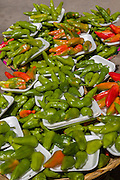 Jalapeño peppers on display at the Sunday market in Tlacolula de Matamoros, Mexico. The regional street market draws thousands of sellers and shoppers from throughout the Valles Centrales de Oaxaca.