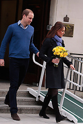 (UK RIGHTS ONLY)  Catherine, Duchess of Cambridge and Prince William, Duke of Cambridge leave the King Edward VII hospital where she has been treated for hyperemesis gravidarum, extreme morning sickness at King Edward VII Hospital in London, UK. 06/12/2012<br />