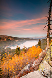 """""""Donner Lake in Autumn 5"""" - Sunset photograph of yellow fall foliage and boulders above Donner Lake in Truckee, California"""