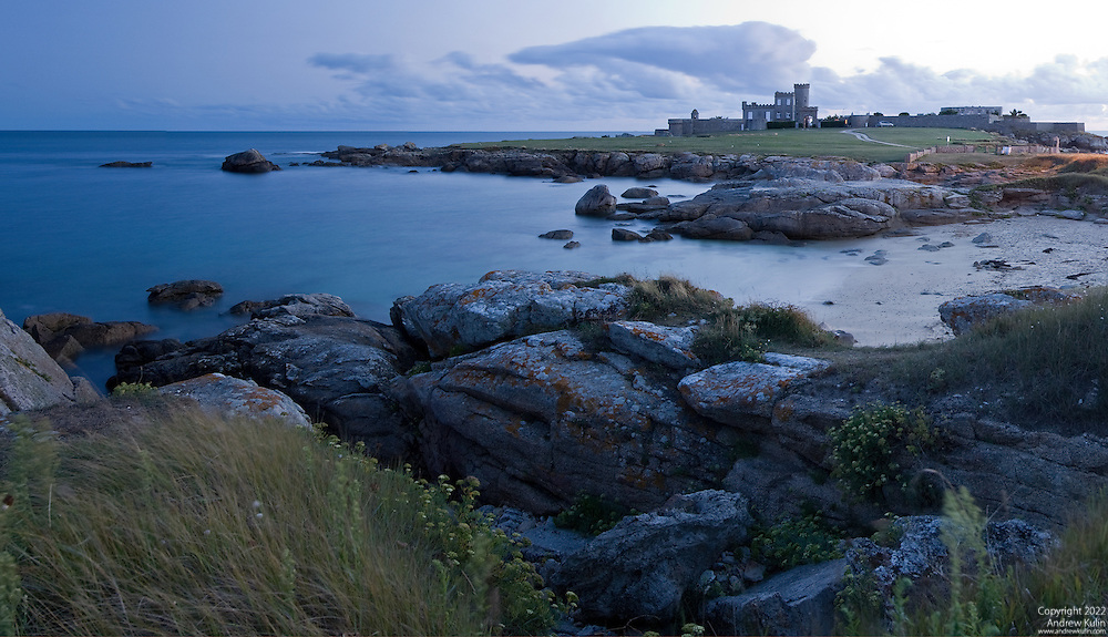 Panorama of the Brittany coastline at Trevignon.  A gated private residence, small castle is seen in the distance..2240x(1287 (original size)
