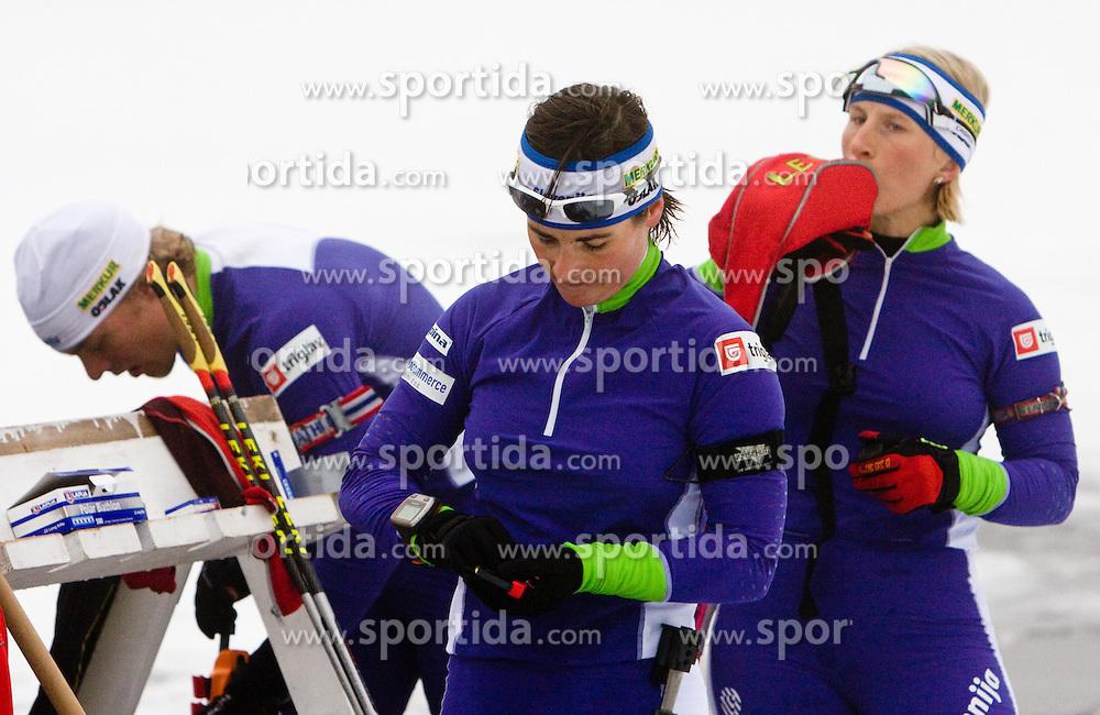Andreja Mali and Tadej Brankovic Likozar  at training session of Slovenian biathlon team before new season 2009/2010,  on November 16, 2009, in Pokljuka, Slovenia.   (Photo by Vid Ponikvar / Sportida)