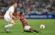01.01.2014 Sydney, Australia. Wanderers Dutch midfielder Youssouf Hersi in action during the Hyundai A League game between Western Sydney Wanderers FC and Wellington Phoenix FC from the Pirtek Stadium, Parramatta. Wellington won 3-1.