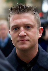 © Licensed to London News Pictures . 23/01/14 Former English Defence League leader Stephen Lennon, who uses the alias Tommy Robinson, has been jailed for 18 months today 23 January 2014 for mortgage fraud. FILE PICTURE DATED 16/10/2013. London, UK. Former LEader of the EDL (English Defence League) TOMMY ROBINSON aka Stephen Yaxley-Lennon arriving at Westminster Magistrates Court in London where he is charged with obstructing police officers while taking part in a protest walk to Woolwich Barracks following the killing of Drummer Lee Rigby. Photo credit: Ben Cawthra/LNP