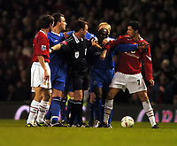 Claude Makelele Chelsea and Cristiano Ronaldo Man United have to be seperated<br />Manchester United V Chelsea 26/01/05<br />The Carling Cup Semi Final 2nd leg<br />Photo Robin Parker Fotosports International