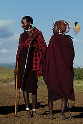Africa, Tanzania, Ngorogoro Crater. Masai young men, known as Morani at manhood initiation ceremony.