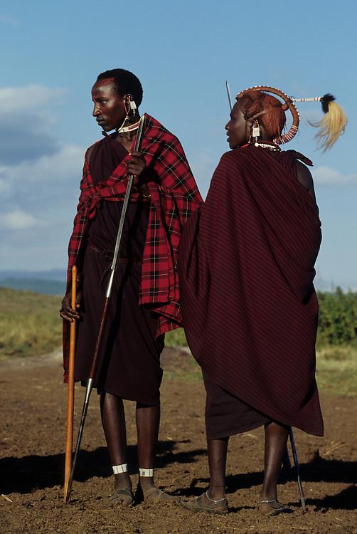 Africa, Tanzania, Ngorogoro Crater. Masai young men, known as Morani at manhood initiation ceremony.