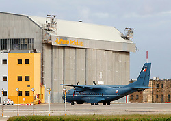 A CN 235 transport plane of the Irish Air Corps is seen at Malta International Airport outside Valletta February 23, 2011. The plane has been based in Malta since Wednesday morning in readiness to fly to Libya to evacuate Irish nationals.  The CN235 left for Libya Wednesday late afternoon, according to witnesses..Photo by Darrin Zammit Lupi