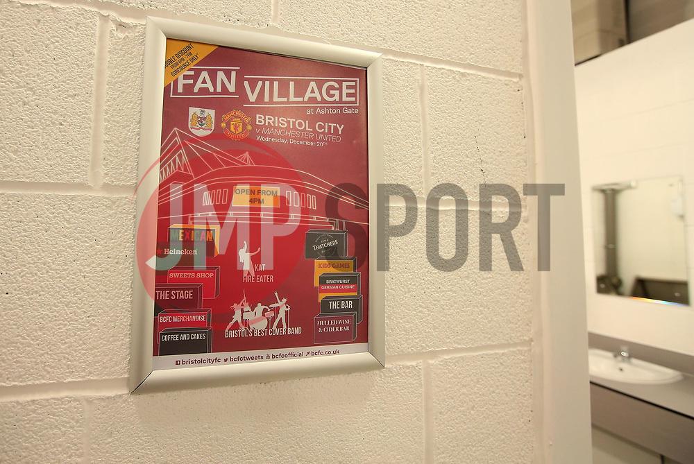 Bristol City poster in toilets - Mandatory by-line: Robbie Stephenson/JMP - 20/12/2017 - FOOTBALL - Ashton Gate Stadium - Bristol, England - Bristol City v Manchester United - Carabao Cup Quarter Final