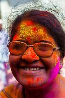 Holi Festival celebration (Festival of Colors) outside the Banke Bihari Temple, Vrindavan, near Mathura, Uttar Pradesh, India.