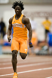 Matthiew Pritchett (Tennesse) races in the men's 55m dash.  Day 1 of the Virginia Tech Invitational Track and Field meet was held at the Rector Field House on the campus of Virginia Tech in Blacksburg, VA on January 11, 2008.