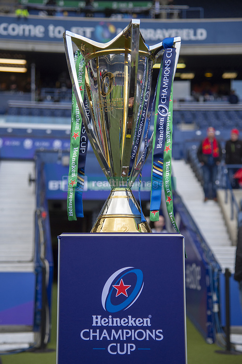 March 30, 2019 - Edinburgh, Scotland, United Kingdom - The Heineken Cchampions Cup trophy pictured during the Heineken Champions Cup Quarter Final match between Edinburgh Rugby and Munster Rugby at Murrayfield Stadium in Edinburgh, Scotland, United Kingdom on March 30, 2019  (Credit Image: © Andrew Surma/NurPhoto via ZUMA Press)
