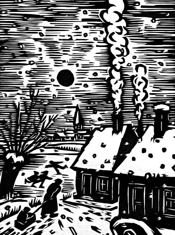 A black / white drawing of winter fun in the countryside