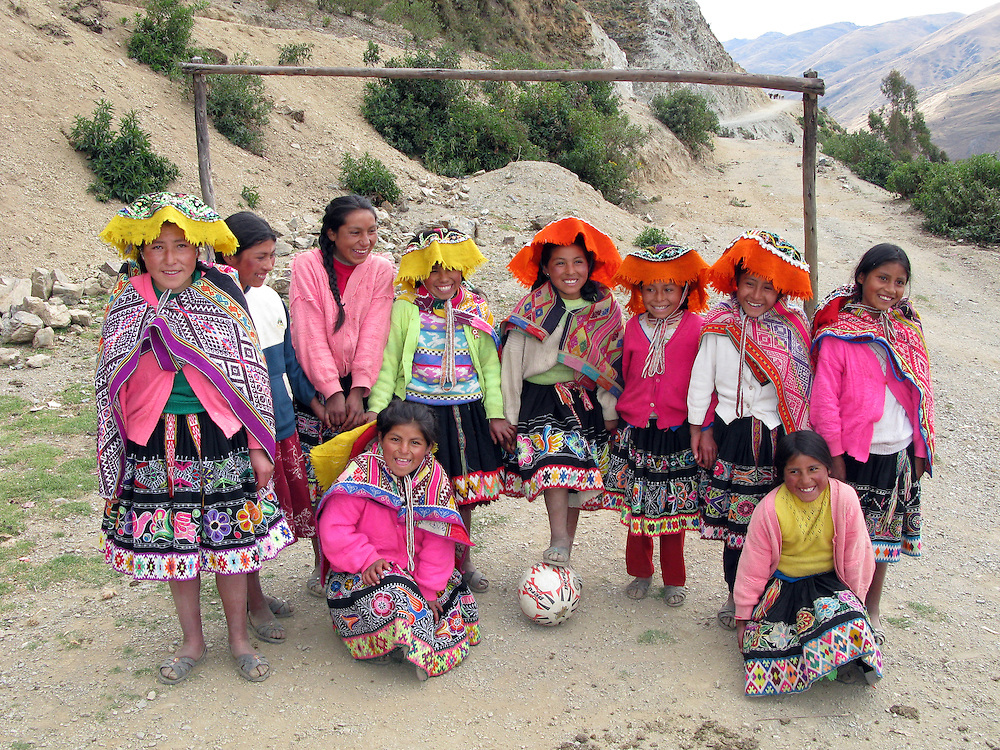 All girl football team in a remote Peruvian village
