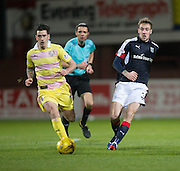 Dundee&rsquo;s Kevin Holt and Hearts&rsquo; Jamie Walker - Dundee v Hearts in the Ladbrokes Scottish Premiership at Dens Park, Dundee. Photo: David Young<br /> <br />  - &copy; David Young - www.davidyoungphoto.co.uk - email: davidyoungphoto@gmail.com
