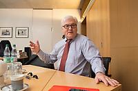 15 JAN 2013, BERLIN/GERMANY:<br /> Frank-Walter Steinmeier, SPD Fraktionsvorsitzender, waehrend einem Interview, in seinem Buero, Jakob-Kaiser-Haus, Deutscher Budnestag<br /> IMAGE: 20130115-01-023<br /> KEYWORDS: B&uuml;ro