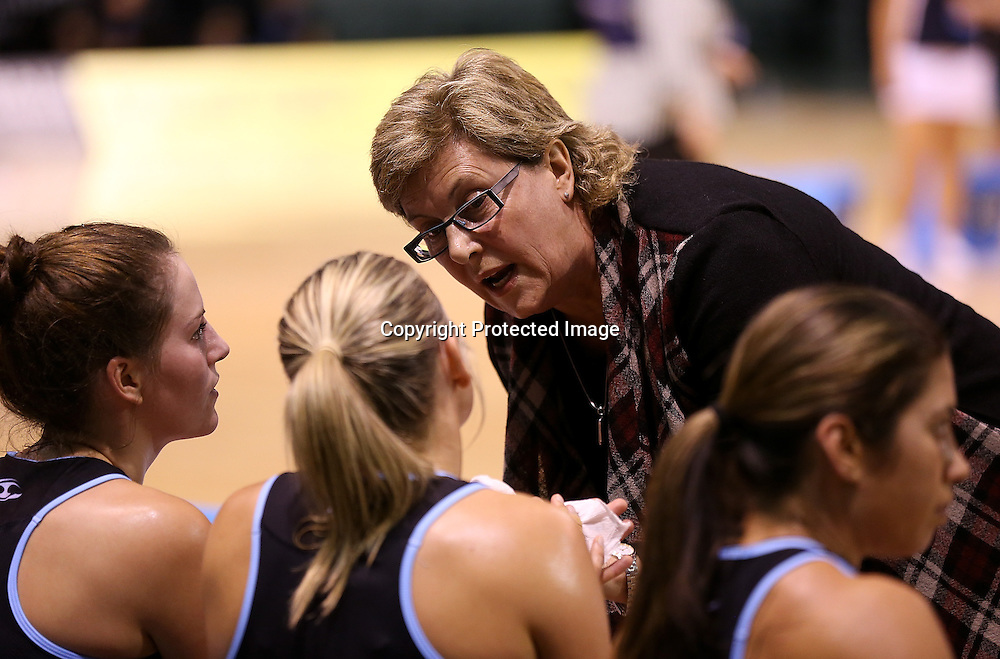 Canterbury Tactix coach Leigh Gibbs talks to her players during the ANZ Netball Championship, Easiyo Tactix v Southern Steel at CBS Arena, Christchurch, New Zealand. Saturday 30th March 2013. Photo: Martin Hunter/ Photosport.co.nz