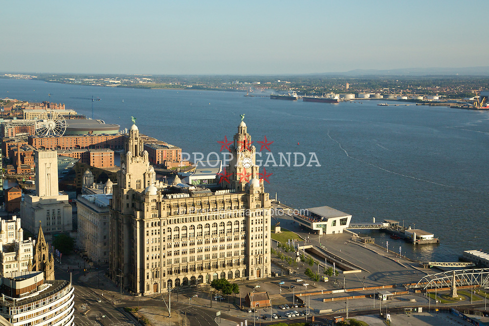 LIVERPOOL, ENGLAND - Saturday, June 21, 2014: Views across Liverpool including the Liver Building from floor 38 of the West Tower at a players' dinner during Day Three of the Liverpool Hope University International Tennis Tournament. (Pic by David Rawcliffe/Propaganda)