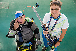 Franc Pinter Anco and Coach Polona Sladic of Slovenia after the Qualification of R7 - Men's 50m Rifle 3 Positions SH1 on day 5 during the Rio 2016 Summer Paralympics Games on September 12, 2016 in Olympic Shooting Centre, Rio de Janeiro, Brazil. Photo by Vid Ponikvar / Sportida