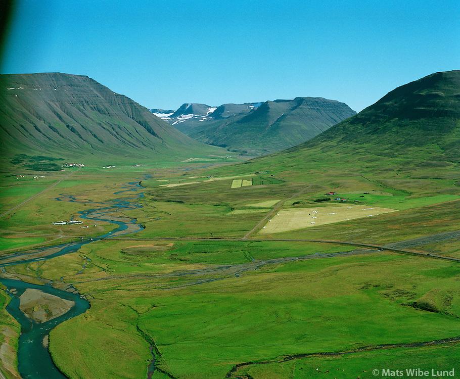 """Kjarvalsstaðir séð """"heim að Hólum"""", Hólahreppur /.Kjarvalsstadir, view to Holar, Holahreppur."""