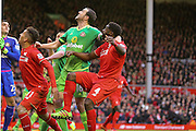 Sunderland defender John O'Shea gets hold of Liverpool defender Kolo Toure  at a corner  during the Barclays Premier League match between Liverpool and Sunderland at Anfield, Liverpool, England on 6 February 2016. Photo by Simon Davies.