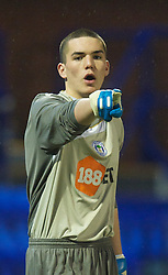 BIRKENHEAD, ENGLAND - Thursday, March 25, 2010: Wigan Athletic's goalkeeper Lee Nicholls during the FA Premiership Reserves League (Northern Division) match against Liverpool at Prenton Park. (Photo by David Rawcliffe/Propaganda)