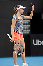 January 10, 2019 - Sydney, NSW, U.S. - SYDNEY, AUSTRALIA - JANUARY 10: Elise Mertens (BEL) calls for a review at The Sydney International Tennis in the game between Ashleigh Barty (AUS) and Elise Mertens (BEL) on January 10, 2018, at Sydney Olympic Park Tennis Centre in Homebush, Australia. (Photo by Speed Media/Icon Sportswire) (Credit Image: © Steven Markham/Icon SMI via ZUMA Press)