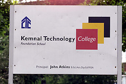 Signage for Kemnal Technology College, Sidcup, Kent, July 30, 2000. Photo by Andrew Parsons/ i-Images.