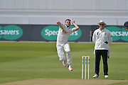 Harry Gurney coiled ready for delivery during the Specsavers County Champ Div 1 match between Nottinghamshire County Cricket Club and Durham County Cricket Club at Trent Bridge, West Bridgford, United Kingdom on 29 May 2016. Photo by Simon Trafford.