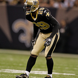 2009 November 30:  New Orleans Saints defensive back Chris McAlister (29) on the field during a 38-17 win by the New Orleans Saints over the New England Patriots at the Louisiana Superdome in New Orleans, Louisiana.
