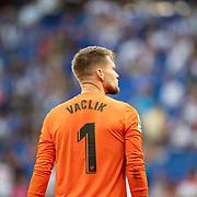 BARCELONA, SPAIN - August 18: Goalkeeper Tomas Vaclik #1 of Sevilla during the Espanyol V  Sevilla FC, La Liga regular season match at RCDE Stadium on August 18th 2019 in Barcelona, Spain. (Photo by Tim Clayton/Corbis via Getty Images)