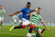 Kristoffer Ajer of Celtic FC Lunges for the ball as Alfredo Morelos of Rangers FC looks to cross the ball during the Betfred Scottish League Cup Final match between Rangers and Celtic at Hampden Park, Glasgow, United Kingdom on 8 December 2019.