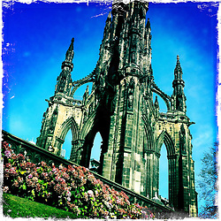 The Scott Monument is a Victorian Gothic monument to Scottish author Sir Walter Scott. It stands in Princes Street Gardens in Edinburgh, opposite the Jenners department store on Princes Street..Hipstamatic images taken on an Apple iPhone..©Michael Schofield.
