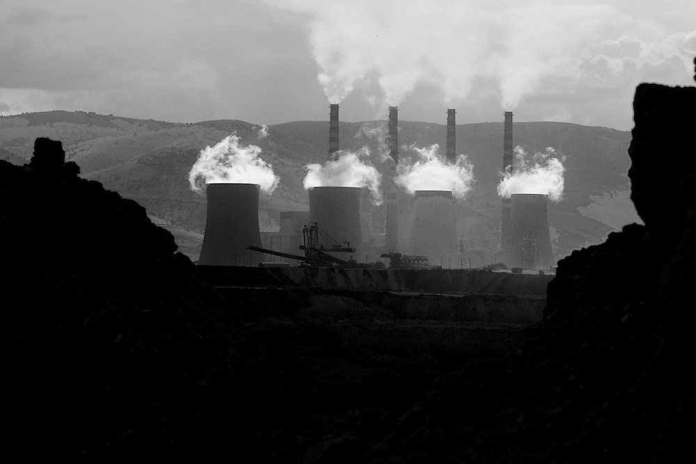 Coal mines and power stations in Ptolemaida, a city located north of Kozani, in west Macedonia, northern Greece. .The lignite power station is responsible for the emission of 43 millions tones of carbon dioxide annually, 40% of Greece's total emission.