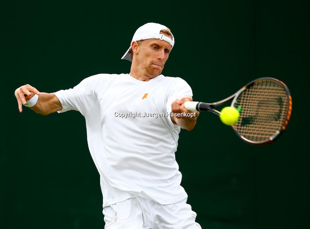 Wimbledon Championships 2013, AELTC,London,<br /> ITF Grand Slam Tennis Tournament, Bastian Knittel(GER),Aktion,Einzelbild,<br /> Halbkoerper,Querformat,