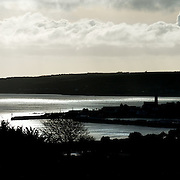 View of silver sea look down over the harbour at Newlyn, Cornwall.<br />
