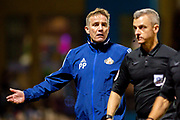 Sunderland manager Phil Parkinson complains to the referee after  the EFL Sky Bet League 1 match between Gillingham and Sunderland at the MEMS Priestfield Stadium, Gillingham, England on 7 December 2019.