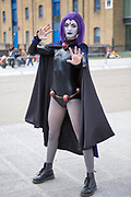 UNITED KINGDOM, London: 24 May 2019 <br /> Cosplay fan Theo Rintoul, aged 23, dresses as Raven at the ExCeL Centre in London today for the MCM London Comic Con. Thousands of cosplay enthusiasts will come to the ExCeL Centre across the next three days to enjoy the convention.